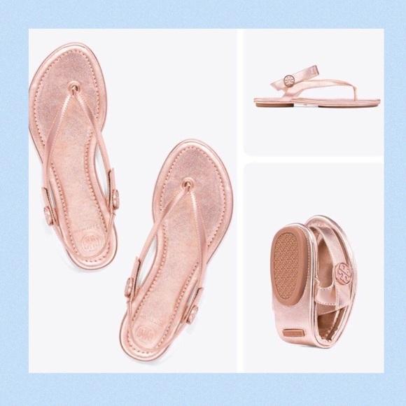 cd7f86bdf108 Tory Burch Minnie Metallic Flat Travel Sandal
